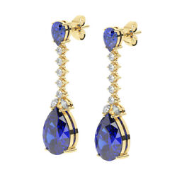 Round Marquise Cut Diamond And Pear Cut Blue Sapphire Earring In 18k Yellow Gold