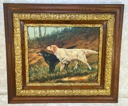 Pair Of Setter Dogs Oil On Board By W Beschonner Gold Colored Victorian Frame