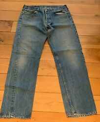 Vintage Levi's 501 Washed Jeans Button Fly Red Tag Straight Usa 34 Waist 33 Leg