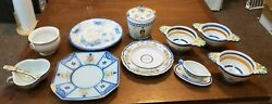 Vintage Quimper French Pottery Lot - Plates, Handled Cream Soup Bowls, And More