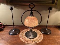 Arts And Crafts Bandh Era Riviere Studios Harp Lamp And Candle Sticks