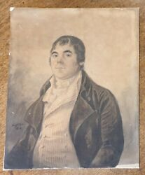 Georgian Regency Watercolour Portrait Painting Signed Listed R Dighton 1800s