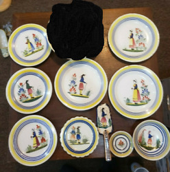 Vintage French Quimper Pottery Lot - Man And Woman Plates, Bowls, And More