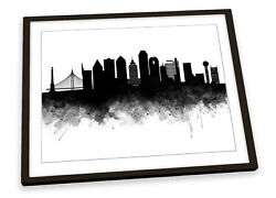 Dallas Abstract City Skyline Black Framed Art Print Picture Poster Artwork