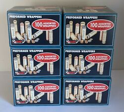 6 Lots Of 100 Preformed Assorted Paper Coin Wrappers New In Package