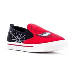 Marvel SPIDERMAN Boys Kids Canvas Slip On Sneakers Size 13 NWT Red Black