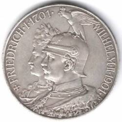 Antique German Empire 5 Mark 1901, 200 Years Of Prussia Silver Save