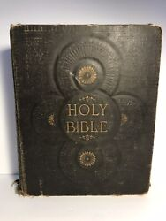 Antique Large Holy Bible Red Letter Art Edition From 1892 12x10 Massive