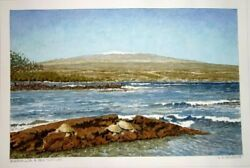 Hawaii Watercolor Painting Snowy Mauna Loa And Sea Turtles By By L. Segedin 123