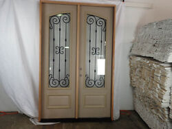 5and039 X 8and039 Double Front Door Arched 3/4 Glass With Iron Mahogany + Fiberglass