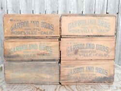 1930and039s Garbolino Bros Roseville California Wooden Grape Crate Produce Box Lot