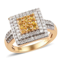 925 Sterling Silver Yellow White Diamond Cluster Ring Ct 1 I Color I3 Clarity