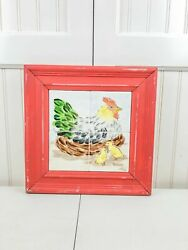 DECORATIVE CERAMIC TILES SIGNED HAND PAINTED FRAMED KITCHEN WALL ART ROOSTER