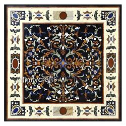 Pietra Dura Art Marble Coffee Table Black Kitchen Table Top 42 X 42 Inches