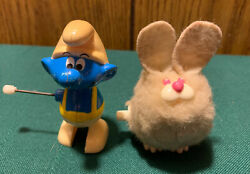 2 Vtg Antique 1982 Galoob Peyo Smurf And Tomy Scurry Furries Bunny Wind Up Toys