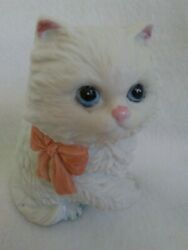 Homco Persian Kitten Cat Figurine White W Pink Bow Collectible figure #1428
