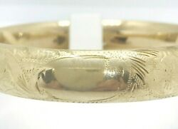 Estate Solid 14k Yellow Gold Engraved Hinged Cuff Bracelet W/ Safety Bar