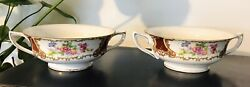 Rare Circa 1940s Goldcastle Japan Red Floral Footed Cream Soup Bowl Pair