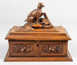 Antique 19th Century Black Forest Carved Wood Dog Box