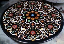 42 Inches Black Sofa Table Marble Patio Dinning Table Top With Floral Design
