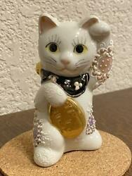 Japanese tradition Beckoning cat Japan Kutani ware Maneki neko antique Retro #27