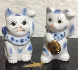 Japanese tradition Beckoning cat Japan Kutani Maneki neko antique Retro 2 set