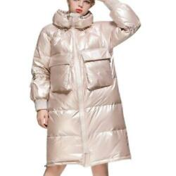 Womens Long 90 Duck Down Shiny Puffer Coats Stand Collar Thicken Warm Outdoor L