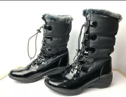 Totes Winter Boots Size 9 Shiny Black Faux Fur Lining sh 143 $24.65