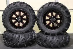 Brute Force 750 27 Mud Lite Ii 14 St-4 Red / Blk Atv Tire And Wheel Kit Irs1ca