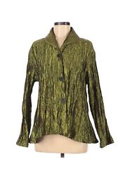 Christopher Calvin Women Green Long Sleeve Blouse M $19.99