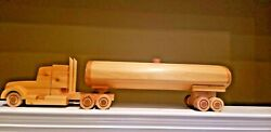 """Handmade Homemade Wooden Semi Truck And Tanker Trailer Toy 29 1/2"""" Vintage Style"""