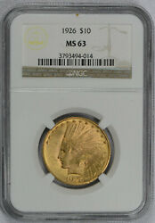 1926 10 American Gold Eagle Indian Head Ms63 Ngc - Free Shipping