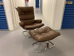 Vintage Harald Relling Wing Lounge Chair Ottoman Westnofa Mid Century Modern