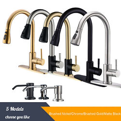 Single Handle Kitchen Sink Faucet Pull Down Sprayer With Cover Deck Mounted