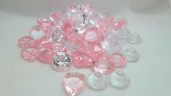 Valentine 7oz. Acrylic Pink Heart And Clear Gems Vase Fillers / Table Scatter