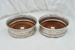 Rare Pair Of George Iii Hm Sterling Silver Wine Bottle Coasters 1801