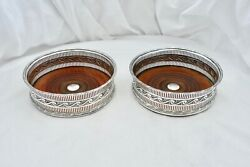 Rare Pair Of George Iii Hm Sterling Silver Wine Bottle Coasters A 1801