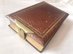 Antique Victorian Leather Photo Album 9'' X 6'' And 94 Cvd Photographs From 1873