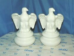 White Ceramic Eagle Lamp Base/parts Only Set Of Two