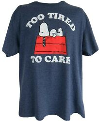 Peanuts Snoopy Mens T Shirt Officially Licensed Too Tired To Care Blue New