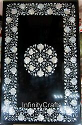 30 X 48 Inches Black Office Meeting Table Top Marble Dining Table With Mop Work