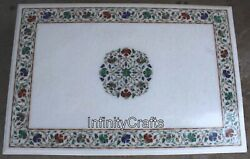 24 X 36 Inches White Dining Table Top Royal Look With Gemstone Lawn Table