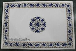24 X 36 Inches White Lawn Table Top Marble Dining Table Inlay With Gemstones