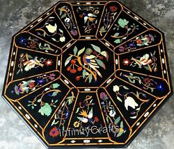 48 X 48 Inches Inlay Sofa Table Top Octagon Shape Dining Table With Floral Work