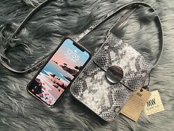 Minimalist leather small bag with mobile phone for women walking messenger mini $59.00