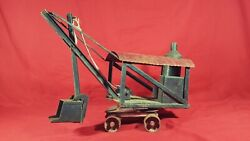 Antique Buddy L Steam Shovel Pressed Steel 1920and039s Vintage Construction Toy