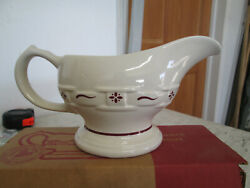 Longaberger Pottery Sauce Boat 30929 Traditional Red, Nib