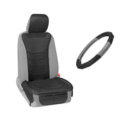Bdk Frontseat Covers Padded Leather And Steering Wheel Cover Standard Fit Gray