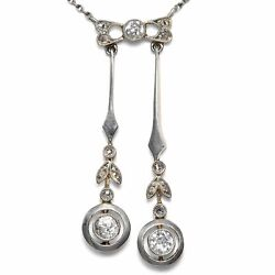 Um 1910 Antique Necklace With Diamonds In Gold And Platinum Lavaliere