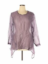 Christopher Calvin Women Purple Long Sleeve Blouse XL $26.99